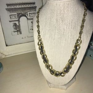 Chunky Brass and Silver Tone Necklace